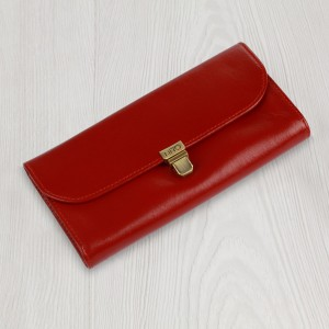Red Leather Wallet for Women