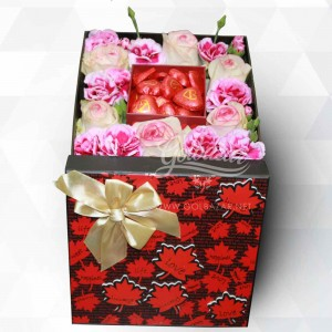 Box of Pink Flowers