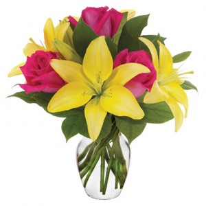 Rose and Yellow lilies vase